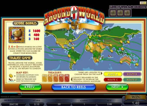 Around the World Review Slots Globe Bonus