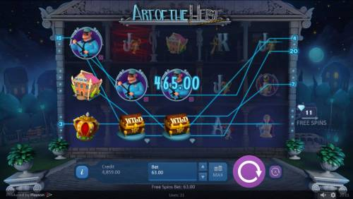Art of the Heist Review Slots Multiple winning paylines triggers a 465.00 big win!