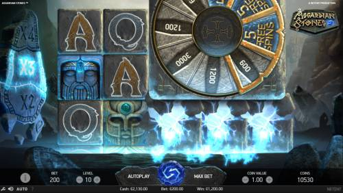Asgardian Stones Review Slots Bonus Wheel triggered
