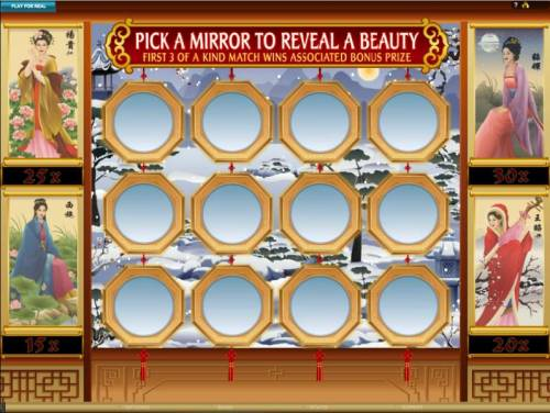 Asian Beauty Review Slots pick a mrror to reveal a beauty. first 3 of a kind match wins associated bonus prize