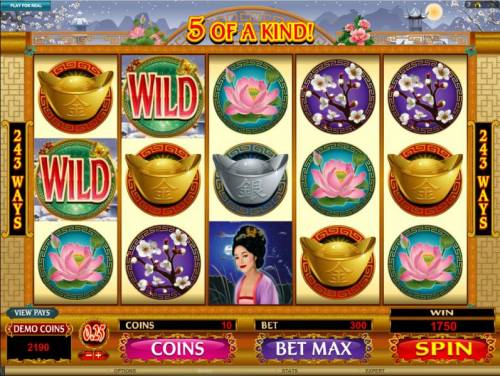 Asian Beauty Review Slots two wild symbols lead to 5 of a kind and a 1750 coin payout