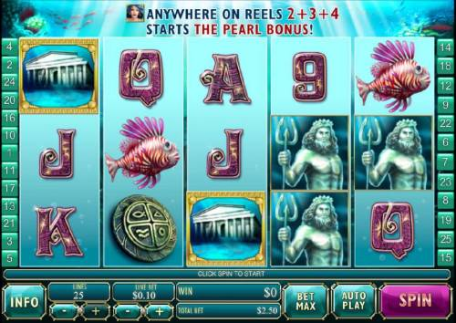 Atlantis Queen Review Slots main game board featuring five reels, 25 paylines and a $250,000 max payout