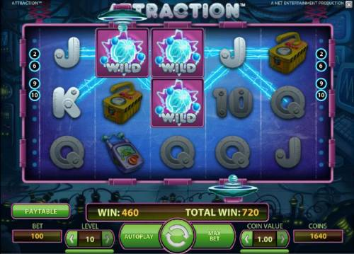 Attraction Review Slots multiple winning paylines triggered by wild symbols