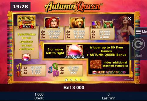 Autumn Queen Review Slots Slot game symbols paytable featuring nature and animal themed icons.