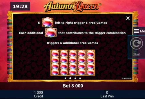 Autumn Queen Review Slots Five crystal orbs keft to right trigger 5 Free Games. Each additinal crystal orb that contributes to the trigger combination, triggers 5 additional free games.