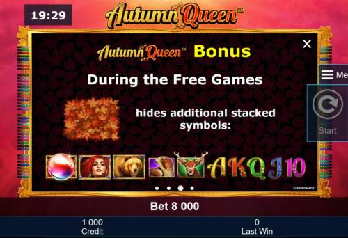 Autumn Queen Review Slots During the Free Games, leaf symbol hides additional stacked symbols