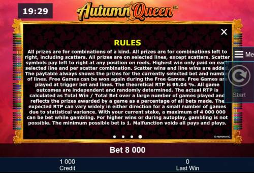 Autumn Queen Review Slots General Game Rules