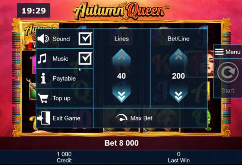 Autumn Queen Review Slots Adjust the number of lines played and/or Bet per line.
