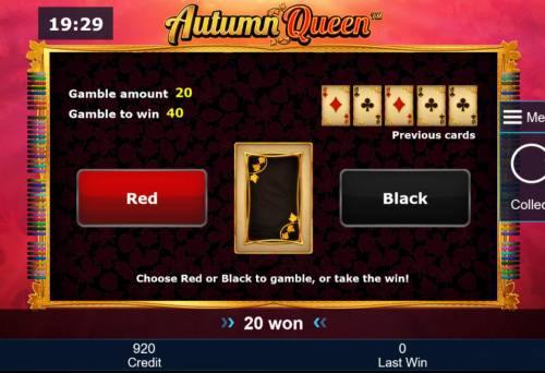 Autumn Queen Review Slots Gamble Feature - To gamble any win press Gamble then select Red or Black.