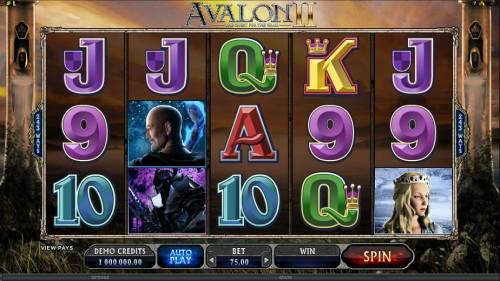 Avalon II The Quest for the Grail Review Slots main game board featuring five reels and 243 ways to win