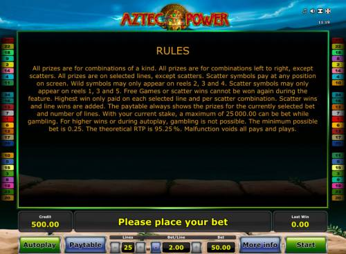 Aztec Power Review Slots General Game Rules