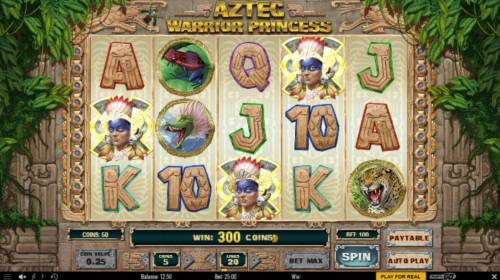 Aztec Warrior Princess Review Slots Three scatter symbols triggers a 300 coin payout and activates the Free Spins feature.