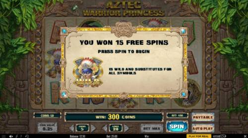 Aztec Warrior Princess Review Slots 15 free spins awarded and the warrior princess scatter symbol is also wild during the free spins feature.