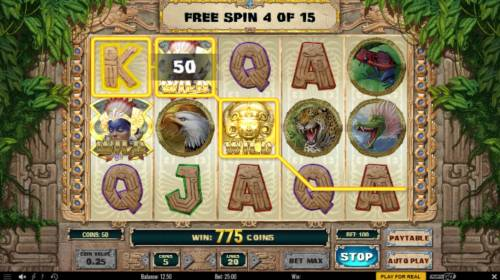 Aztec Warrior Princess Review Slots Multiple winning paylines triggers a big win during the free spins feature!