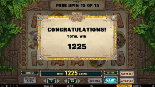 Aztec Warrior Princess Review Slots Free Spins total payout 1225 coins.