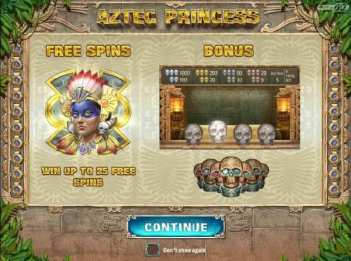 Aztec Princess Review Slots game features FREE SPINS - Win up to 25 free spins and a Bonus feature.