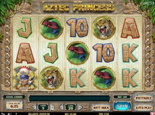 Aztec Princess Review Slots Main game board based on the golden age of the Aztec theme, featuring five reels and 20 paylines with a $6,250 max payout