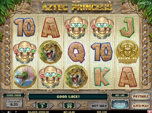 Aztec Princess Review Slots Bonus feature triggered by four skull symbols