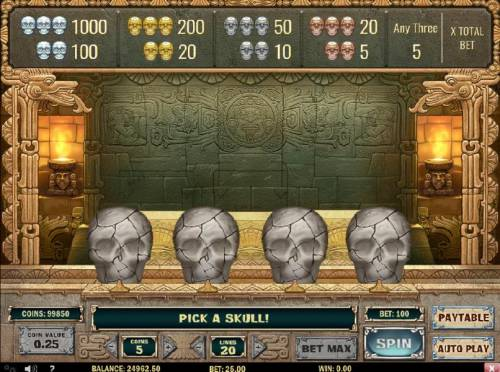 Aztec Princess Review Slots Select a skull to reveal one of four different skulls.