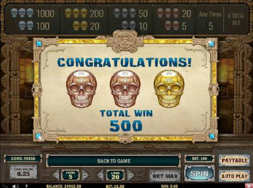 Aztec Princess Review Slots Bonus feature pays out a total of 500 coins for a big win.