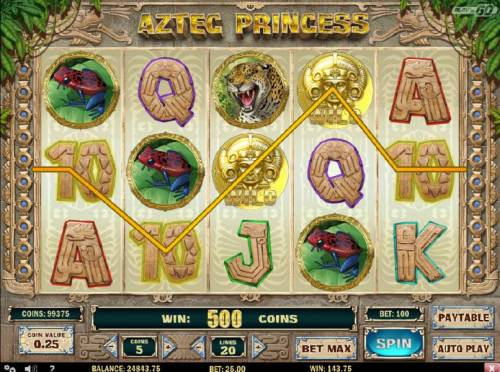 Aztec Princess Review Slots A five of a kind triggers a 500 coin line pay.