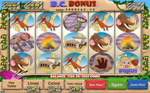 B. C. Bonus Review Slots Main game board featuring five reels and 20 paylines with a $2,500 max payout