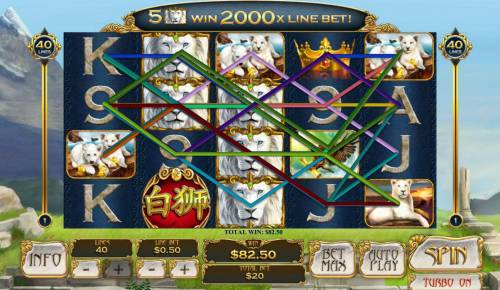 Bai Shi Review Slots Stacked wilds triggers multiple winning paylines.