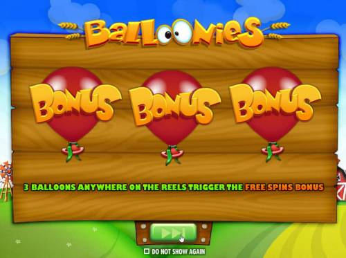 Balloonies Farm Review Slots Three Bonus Balloons anywhere i=on the reels trigger the Free Spins Bonus.