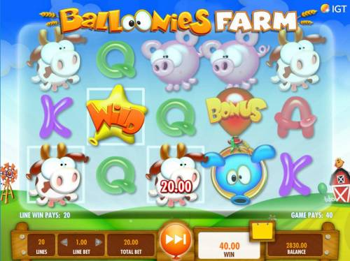 Balloonies Farm Review Slots Multiple winning paylines triggers a big win with a star wild multiplier!