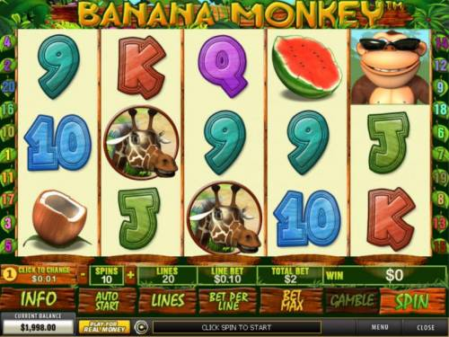 Banana Monkey Review Slots Main game board featuring five reels and 20 paylines with a $12,500 max payout