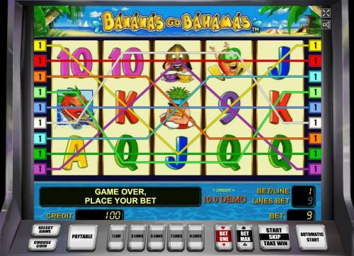 Bananas Go Bahamas Review Slots A tropical vacation themed main game board featuring five reels and 9 paylines with a $90,000 max payout