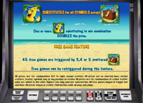 Bananas Go Bahamas Review Slots Banana substitutes for all symbols except scatter.