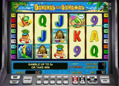 Bananas Go Bahamas Review Slots Multiple winning paylines triggers a 480 coin big win!