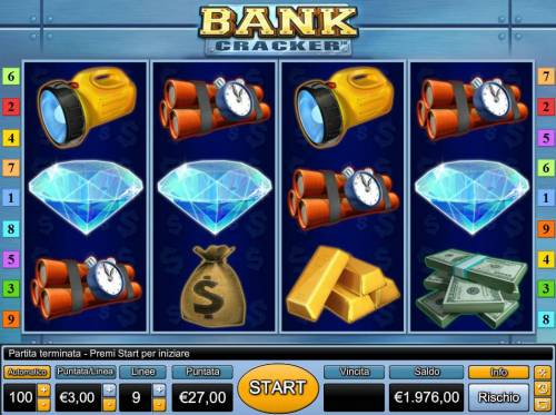 Bank Cracker Review Slots Main game board featuring four reels and 9 paylines with a $3,000 max payout