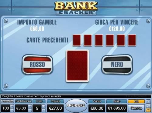 Bank Cracker Review Slots Gamble Feature - To gamble any win press Gamble then select Red or Black.
