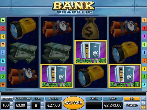 Bank Cracker Review Slots Three scatter symbols anywhere activates the bonus round.