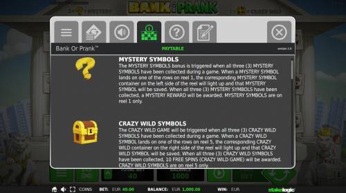 Bank or Prank Review Slots Mystery Symbols and Crazy Wild Symbols Rules