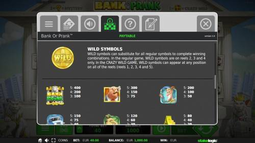 Bank or Prank Review Slots Wild Symbol and High Value Symbols Paytable