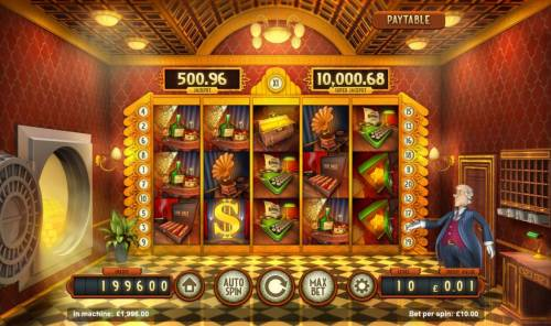Bank Walt Review Slots A 1920s bank themed main game board featuring five reels and 20 paylines with a progressive jackpot max payout