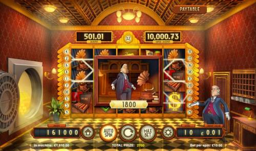 Bank Walt Review Slots An 1800 coin big win triggered by multiple win lines.