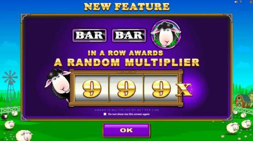 Bar Bar Black Sheep 5 Reels Review Slots NEW Feature - BAR, BAR, Black Sheep in a row awards a random multiplier up to 999x
