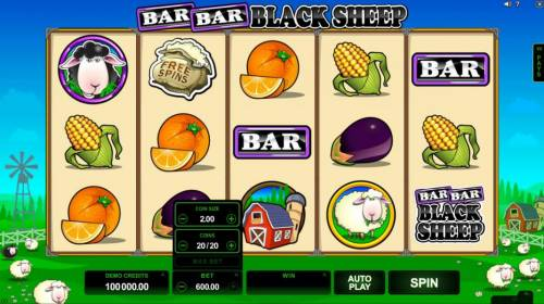 Bar Bar Black Sheep 5 Reels Review Slots The bet level can be easliy adjusted by clicking on BET and using the plus or minus buttons to select an appropriate bet level that suits your playing style.