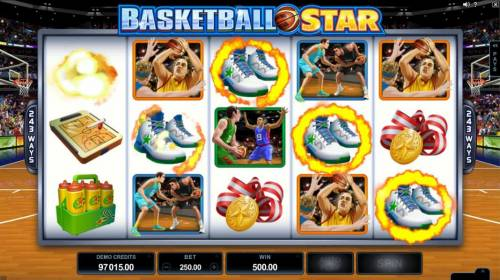 Basketball Star Review Slots A five of a kind triggers a 500.00 Big Win!