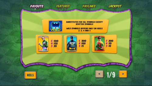 Batman and The Riddler Riches Review Slots High value slot game symbols paytable with icons based on a 1960s action hero TV show