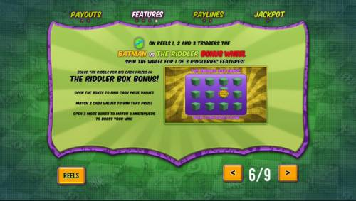 Batman and The Riddler Riches Review Slots The Riddler Box Bonus Game Rules
