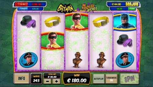Batman and The Riddler Riches Review Slots Winning symbols combinations are removed from the screen and new symbols dropped in place, thus, giving you another chance for bigger wins.