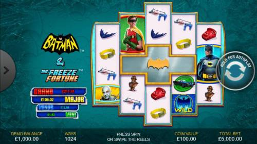 Batman & Mr. Freeze Fortune Review Slots A 1960s super hero themed main game board featuring five reels and 1024 winning combinations with a progressive jackpot max payout