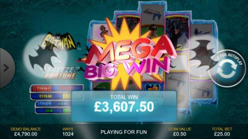 Batman & Mr. Freeze Fortune Review Slots A 3,607.50 mega win triggered.