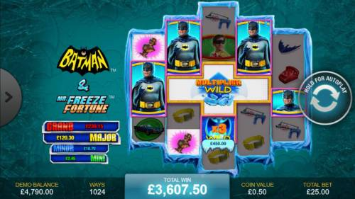 Batman & Mr. Freeze Fortune Review Slots A wild 3x multiplier leads to a super mega win.