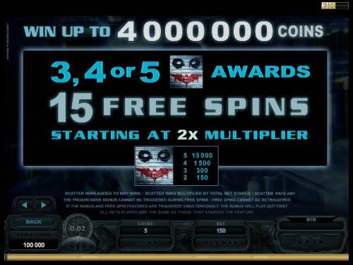 Batman - The Dark Knight Review Slots Bonus rounds paytable